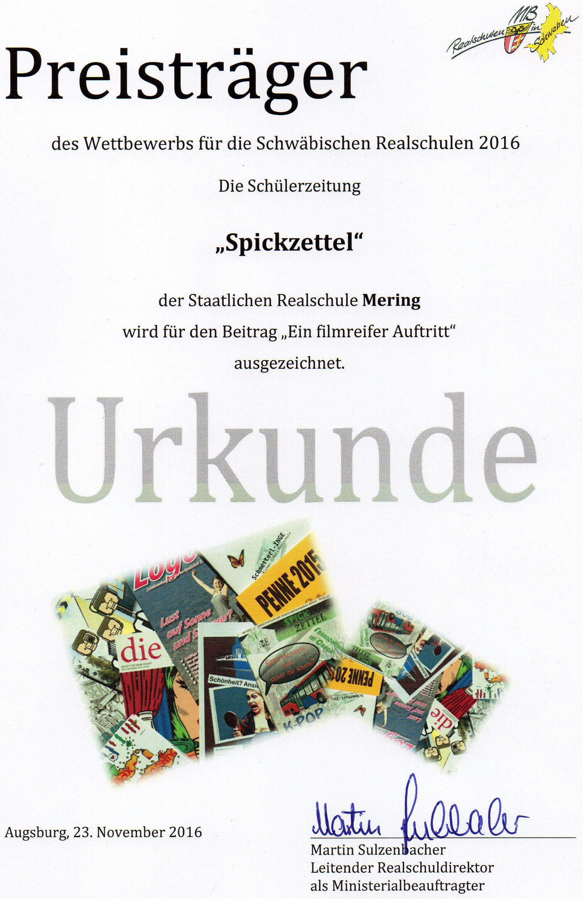 Urkunde Schülerzeitung